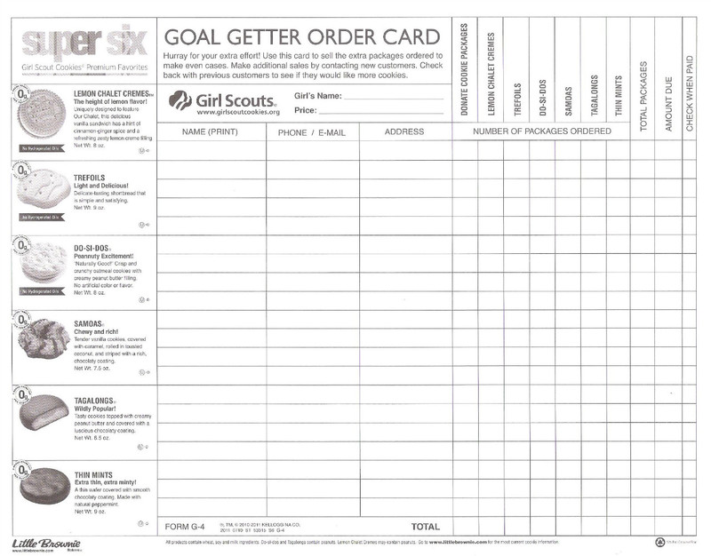 Dorable cookie order form template motif example resume for Girl scout order form template